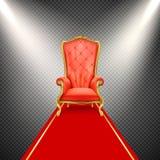 realistische troonstoel met rood tapijt Stock Illustratie