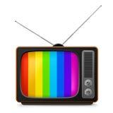Realistische uitstekende TV met kleurenframe Stock Foto