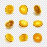 Realistische vastgestelde gouden die muntstukken van de voorraad de vectorillustratie op transparante geruite achtergrond worden  Royalty-vrije Stock Afbeeldingen