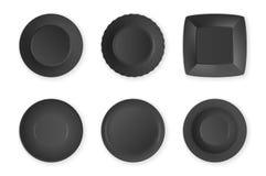 Realistische vector zwarte het pictogram vastgestelde die close-up van de voedsel lege plaat op witte achtergrond wordt geïsoleer vector illustratie