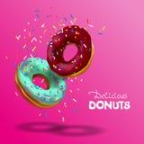 Realistische vectorbanner voor koffie en banketbakkerij Bestrooien smakelijke chocolade twee en azuurblauwe donuts, het vallen va royalty-vrije illustratie
