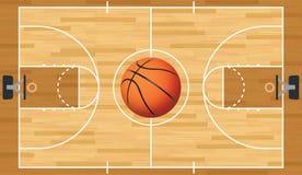 Realistische Vectorbasketbalhof en Bal Stock Fotografie