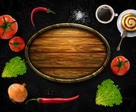 Realistische vectorgroenten met conceptenembleem voor Organische Winkel op zwarte achtergrond Stock Fotografie