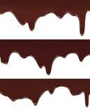 Realistische vectorillustratie van het gesmolten chocolade druipen Stock Afbeelding