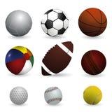 Realistische vectorillustratiereeks sportballen Stock Afbeelding