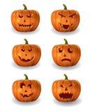 Realistische vectorreeks Halloween-pompoenen Stock Afbeelding