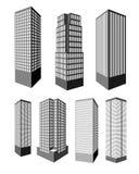 Realistische vectorwolkenkrabbers Stock Foto's