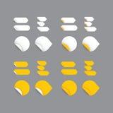 Realistische Vektoraufkleber - gelbe Sammlung. Modernes Design, Querstation Lizenzfreie Stockbilder
