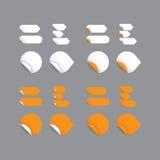 Realistische Vektoraufkleber - orange Sammlung. Modernes Design, Querstation Lizenzfreies Stockfoto