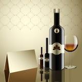 Realistische Vektorflaschen Glas und Reflexionsluxusart Lizenzfreie Stockbilder