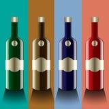 Realistische Vektorflaschen Glas und Reflexionsluxusart mit Stockfotografie