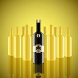Realistische Vektorflaschen mit gelbem Hintergrund Stockbilder