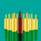 Realistische Vektorflaschen mit grünem Hintergrund Stockfotografie