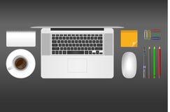 Realistische Vektorillustration des Büros wendet auf grauem Hintergrund ein Lizenzfreies Stockbild