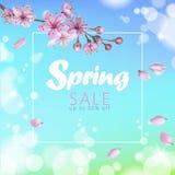 Realistische Verkaufsskriptbeschriftungsnetz-Fahnenschablone des Frühlinges 3d Färben Sie blauen Himmel der rosa Kirschblüte-Kirs Stockfotografie