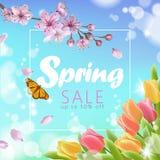 Realistische Verkaufsskriptbeschriftungsnetz-Fahnenschablone des Frühlinges 3d Färben Sie blauen Himmel der rosa Kirschblüte-Kirs Stockbild