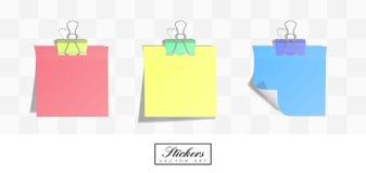 Realistische vierkante document stickers met gerolde randen stock illustratie