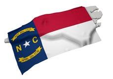 Realistische vlag die de vorm van Noord-Carolina behandelen (reeks) Stock Afbeelding