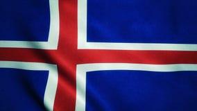 Realistische vlag ultra-HD van IJsland die in de wind golven Naadloze lijn met hoogst gedetailleerde stoffentextuur royalty-vrije illustratie