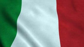 Realistische vlag ultra-HD van Italië die in de wind golven Naadloze lijn met hoogst gedetailleerde stoffentextuur royalty-vrije illustratie