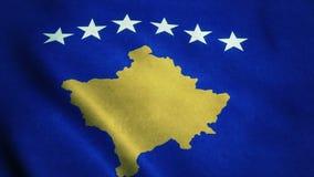 Realistische vlag ultra-HD van Kosovo die in de wind golven Naadloze lijn met hoogst gedetailleerde stoffentextuur vector illustratie