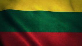 Realistische vlag ultra-HD van Litouwen die in de wind golven Naadloze lijn met hoogst gedetailleerde stoffentextuur stock illustratie