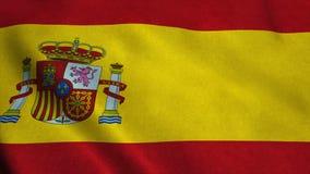 Realistische vlag ultra-HD van Spanje die in de wind golven Naadloze lijn met hoogst gedetailleerde stoffentextuur stock illustratie