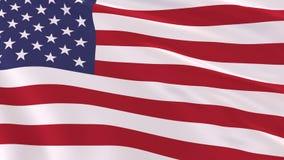 Realistische vlag van de V.S. in de wind, het 3d teruggeven royalty-vrije illustratie