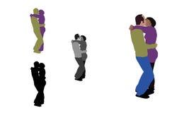 Realistische vlak gekleurde illustratie van een Frans kussend paar Stock Afbeeldingen