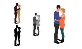 Realistische vlak gekleurde illustratie van een mens die zijn partner kussen Royalty-vrije Stock Afbeeldingen