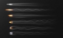 Realistische vliegende kogel Rooksporen op transparante achtergrond, de verschillende in brand gestoken kogels die van de eindemo vector illustratie