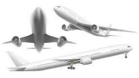 Realistische vliegtuigen Het passagiersvliegtuig, het hemel vliegende vliegtuig en het vliegtuig in verschillende meningen isolee stock illustratie