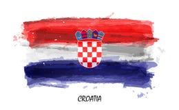 Realistische waterverf het schilderen vlag van Kroatië Vector stock illustratie