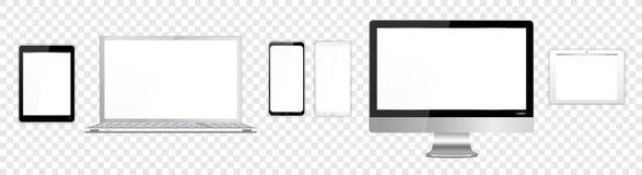 Realistische Witte en Zwarte Moderne Laptop van het Computerscherm Tabletten Smartphone royalty-vrije stock afbeeldingen
