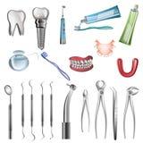 Realistische Zahnarztwerkzeuge Stockfotografie