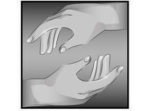 Realistische zu berühren Hände ungefähr sich Lizenzfreies Stockfoto