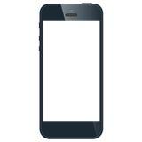 Realistische zwarte mobiele telefoon met het lege scherm ISO Stock Foto's