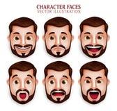 Realistischer Bart-Mann-Kopf mit unterschiedlichem Gesichtsausdruck Stockbild