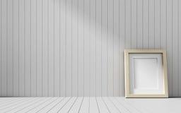 Realistischer Bilderrahmen auf hölzernem Hintergrund Lizenzfreie Stockfotos