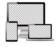 Realistischer Computer, Laptop, Notentablette in der Modellart Moderne Geräte auf lokalisiertem Hintergrund Vektor eps10 stock abbildung