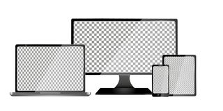 Realistischer Computer, Laptop, Tablet und Handy mit dem transparenten Tapeten-Schirm lokalisiert Satz des Gerät-Modells untersch Stockbild