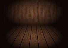 Realistischer dunkelbrauner hölzerner Raum mit Weinlese-Hintergrundvektor des gedämpften Lichts lizenzfreie abbildung