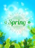 Realistischer Frühlingshintergrund, blauer Himmel, Grün verlässt Sonnendurchbruchtext, greller Glanz, Glühen Schablone für Web-Au Stockbilder