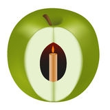 Realistischer grüner Apfel mit Kerze Stockbilder