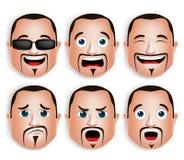Realistischer großer Kopf des dicken Mannes mit verschiedenen Gesichtsausdrücken Stockfotografie