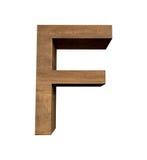 Realistischer hölzerner Buchstabe F lokalisiert auf weißem Hintergrund Stockfotografie