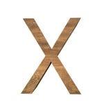 Realistischer hölzerner Buchstabe X lokalisiert auf weißem Hintergrund Stockfotos