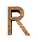 Realistischer hölzerner Buchstabe R lokalisiert auf weißem Hintergrund Stockbilder