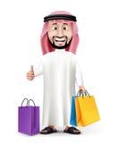 Realistischer hübscher saudi-arabischer Charakter des Mann-3D Stockfotografie