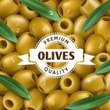 Realistischer Hintergrund der grünen Oliven, mit Blätter Olivgrüner Aufkleber, Ikone Auch im corel abgehobenen Betrag Stockfotografie